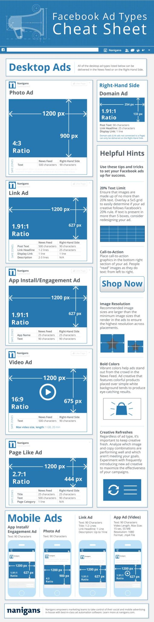 facebook advertising graphics cheat sheet